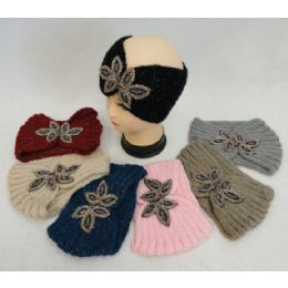 48 Units of Hand Knitted Ear Band [loop With Beaded Applique] - Ear Warmers