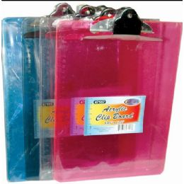 """24 Units of Acrylic Clip Board - 8.85"""" X 12.2"""" - Clipboards and Binders"""