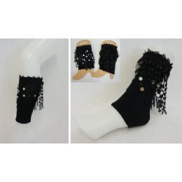 48 Units of Boot Cuffs [black With Fringe] - Arm & Leg Warmers