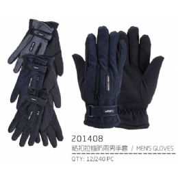 72 Bulk Men's Warm Winter Ski Glove With Zipper Pocket