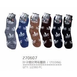 144 Units of Men's Assorted Color Fuzzy Socks Size 10-13 - Men's Fuzzy Socks