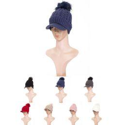 36 Units of Womens Soft Warm Ribbed Knit Visor Brim Pom Pom Beanie Hat With Plush Lining - Winter Hats