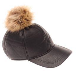 24 Bulk Winter Warm Leather Baseball Cap With Pom Pom