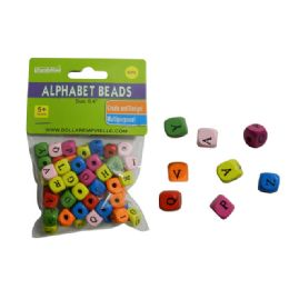 144 Units of 60 Piece Wooded Alphabet Beads - Craft Beads