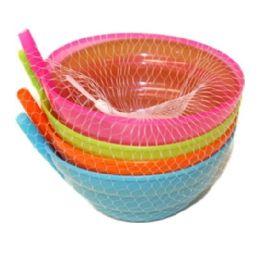 96 Units of 4 Piece Bowl With Straw 12.8cm - Plastic Dinnerware