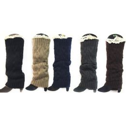 12 Units of Wholesale Knitted Long Boot Topper Leg Warmer With Lace Trim - Arm & Leg Warmers