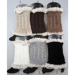 12 Units of Wholesale Cable Knitted Lace Trim Boot Toppers Leg Warmers - Arm & Leg Warmers