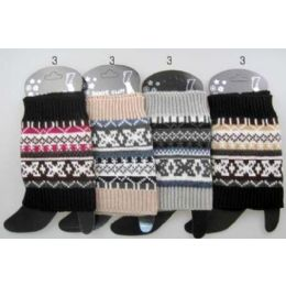 12 Units of Wholesale MultI-Color Patterned Knitted Boot Topper Leg Warmers - Womens Leg Warmers