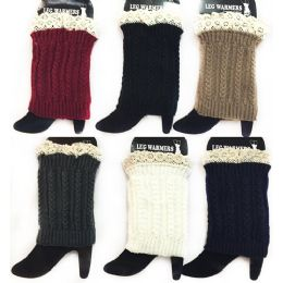 12 Units of Wholesale Braid Knitted Solid Color Boot Topper Leg Warmer Lace - Womens Leg Warmers