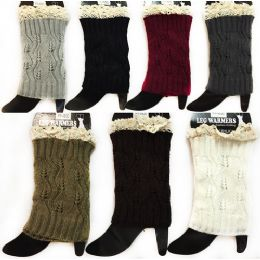 12 Units of Wholesale Knitted Boot Topper Leg Warmer Solid Color With Lace - Womens Leg Warmers
