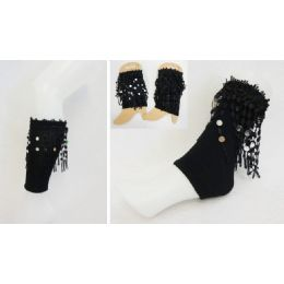 36 Units of Wholesale Black Color Boot Topper With Hanging Fringes - Arm & Leg Warmers