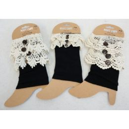 12 Units of Wholesale Black Color Boot Topper With Assorted Size Crochet - Arm & Leg Warmers