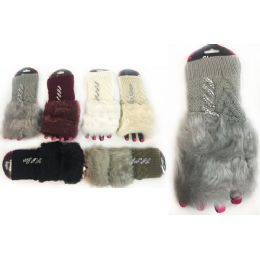 12 of Rhinestone Knitted Faux Fur Finger Less Gloves Assorted