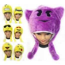 12 Units of Plush Fuzzy Emoji Hat - Hats With Sayings