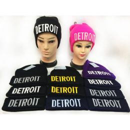 36 Units of Wholesale Winter Knitted Beanie Hat Detroit Toboggan Hat - Hats With Sayings