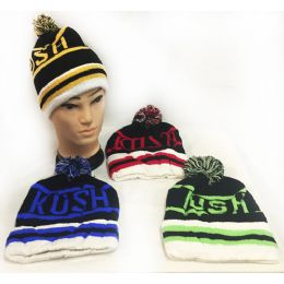 """28 Units of """"kush"""" Knitted Pompom Winter Beanie Hats - Hats With Sayings"""