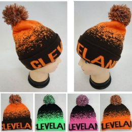 """48 Units of Wholesale Knitted Pompom """"cleveland"""" Winter Beanie Hats - Winter Beanie Hats"""