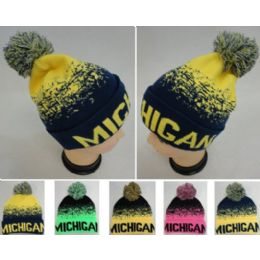 """48 Units of Wholesale Knitted Pompom """"michigan"""" Winter Beanie Hats - Winter Beanie Hats"""