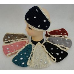 12 Units of Wholesale Knitted Headbands Crochet With Mixed Shape Rhinestones - Headbands