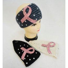 48 Units of Wholesale Knitted Headbands Pink Rhinestone Ribbon Heart Stones - Headbands
