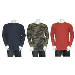 36 Units of L/s Mens Waffle Henley - Mens Thermals