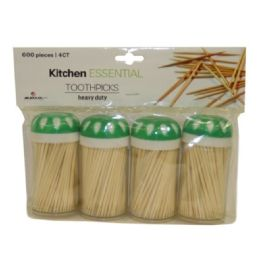 96 Units of 4 Pack Toothpicks 600 Count - Toothpicks