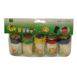 100 Units of 5 Piece Toothpick In Plastic Container - Toothpicks