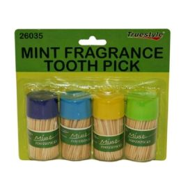 96 Units of 4 Piece Mint Fragrance Tooth Picks - Toothpicks