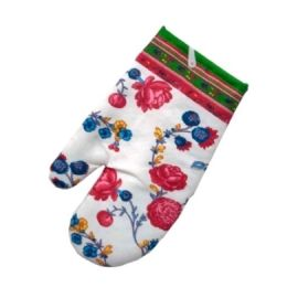 96 Units of Red Flowers Style Oven Mitts 13x6 in - Oven Mits & Pot Holders