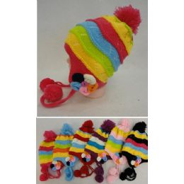 24 Units of Girl's FleecE-Lined Knit Cap With Ear Flap And Pompom flowers - Junior / Kids Winter Hats