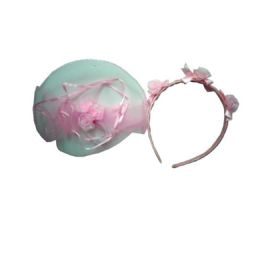 96 Units of 2 Piece Head Band And Rubber Band Asst Color - Headbands