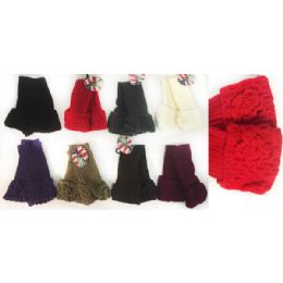 12 Units of Wholesale Knitted Flower FingeR-Less Texting Gloves - Conductive Texting Gloves