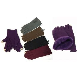 36 Units of Wholesale Winter Touch Gloves Solid Color With Fleece Lining - Conductive Texting Gloves