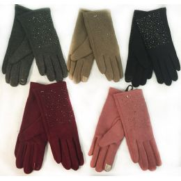 12 Units of Wholesale Winter Touch Gloves Rhinestone With Fleece Lining - Conductive Texting Gloves