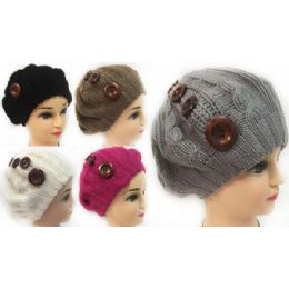 24 Bulk Wholesale Knitted Lady's Winter Hats With Buttons Assorted
