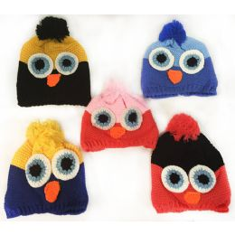 36 Units of Wholesale Little Kids Owl Hats With Fleece Lined Assorted - Junior / Kids Winter Hats
