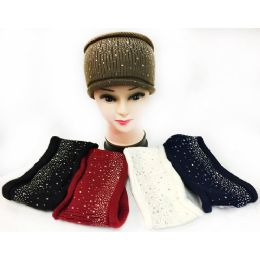 12 Units of Wholesale Knitted Solid Color Headband With Rhinestones Assorted - Headbands