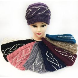 24 Units of Wholesale Knitted Rhinestone Headbands Assorted - Headbands