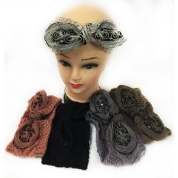 12 Units of Wholesale Knitted Headbands With Bendable Bow Alternate Color - Headbands