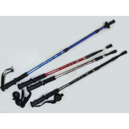 """60 Units of Antishock Hiking Stick Expandable From 25"""" To 52"""" Assorted Colors - Camping Gear"""