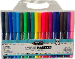 48 Bulk 20 Ct Washable Fine Tip Markers In Carrying Case