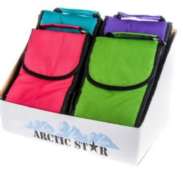 24 Units of Lunch Bag Insulated With Velcro Close And Caribiner Clip Bright Colors - Lunch Bags & Accessories