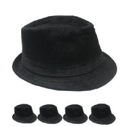 24 Units of Adults Fabric Black Fedora Hat - Fedoras, Driver Caps & Visor