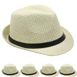 48 Units of Antique White Classic Cuban Trilby Straw Fedora Hat - Fedoras, Driver Caps & Visor