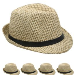 48 Units of Classic Cuban Crushable Brown Trilby Fedora Hat - Fedoras, Driver Caps & Visor