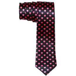 96 of Men's Black Slim Tie With Pens Black Slim Tie With Pink Hearts