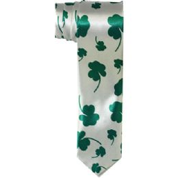 96 of Mens Slim Silver Tie With Green Leaves