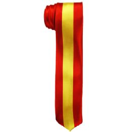 72 of Mens Slim Red And Yellow Striped Tie