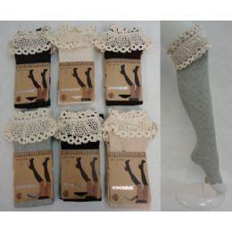 48 Bulk Boot Socks-Diagonal Ribbing Wide Antique Lace