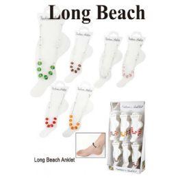 96 Units of Long Beach Ankle Bracelet Assorted Colors - Ankle Bracelets